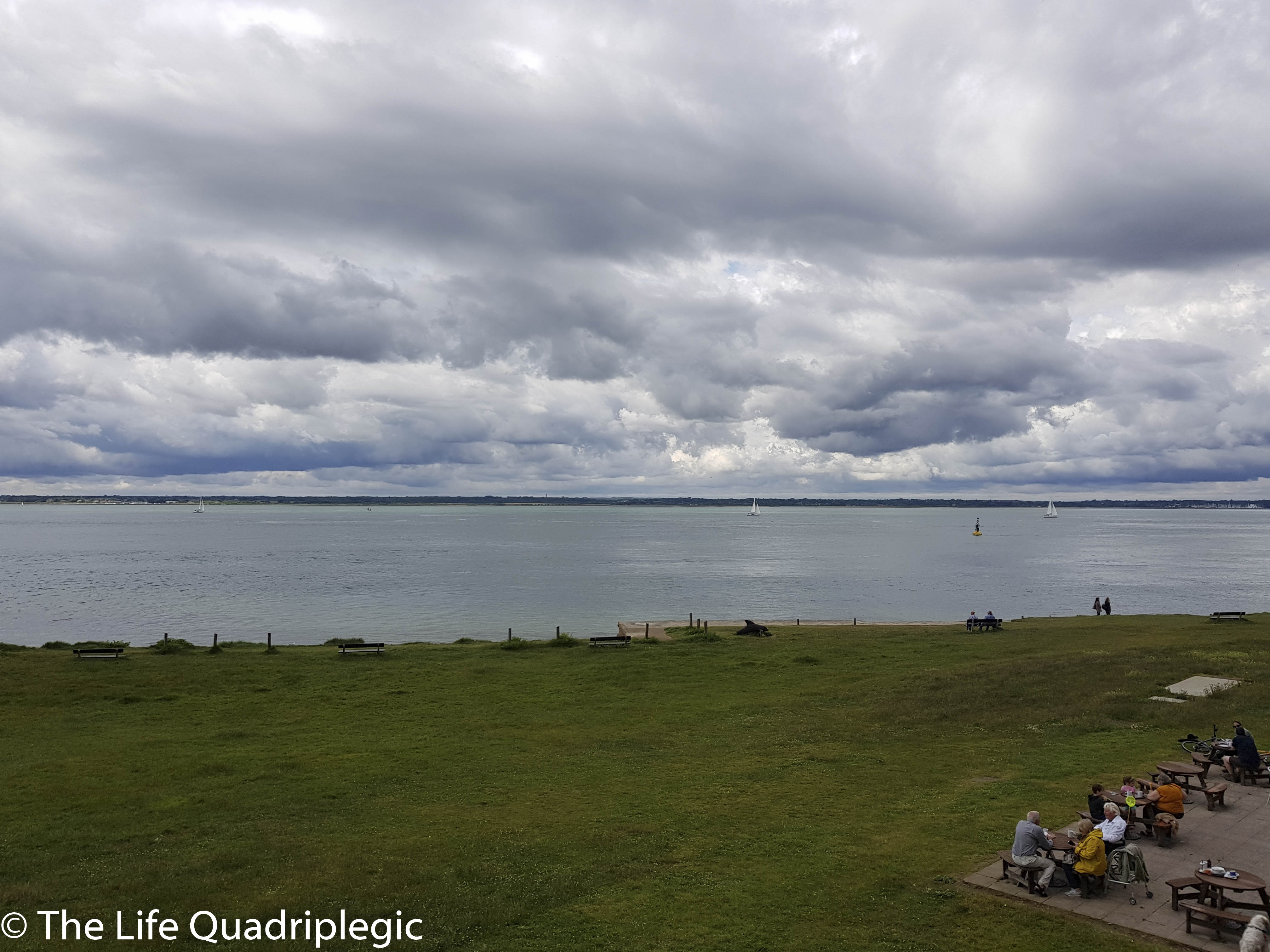 Looking out to the calm waters of the Solent with grass in the foreground